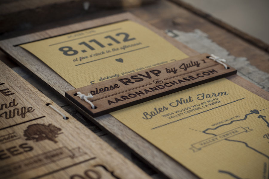 Wood wedding invitation by Chase Kettl