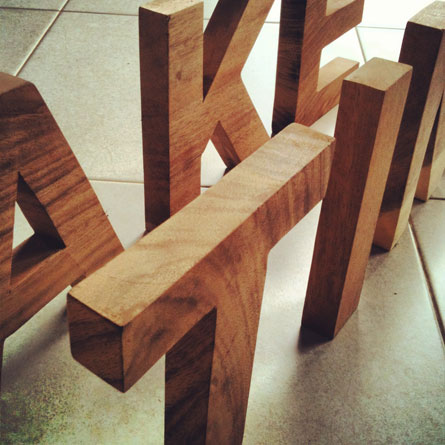 Helvetica wood letters available at www.mr-cup.com/shop/created/wood-products.html