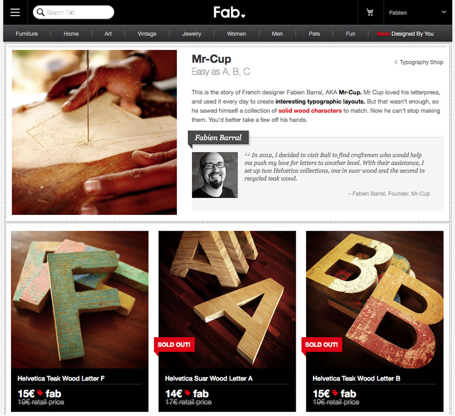Mr Cup Helvetica Wood Letters now on eu.fab.com/sale/7864