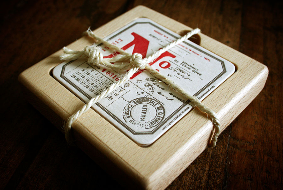 Letterpress coasters by www.mr-cup.com