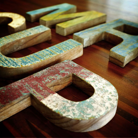 Wood Letters Collection 1 Recycled Teck wood by www.mr-cup.com
