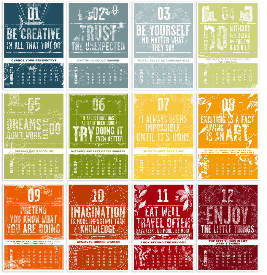 2014 Letterpress Calendar - The creative manifesto - www.mr-cup.com