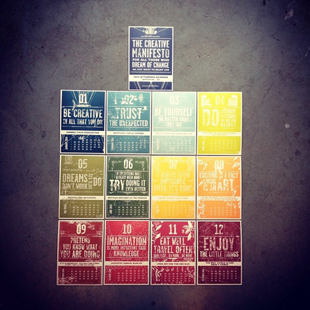2014 letterpress calendar  - the creative manifesto  by www.mr-cup.com