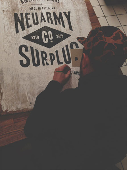 Neu army Surplus Co Wood Signage via www.mr-cup.com