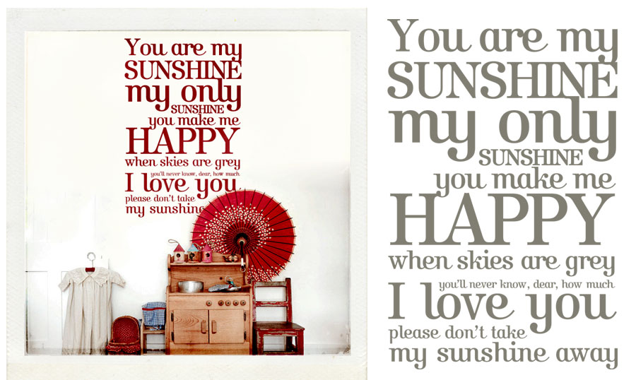 You are my sunshine wall sticker at www.mr-cup.com/shop/created/wall-stickers/you-are-my-sunshine-detail.html