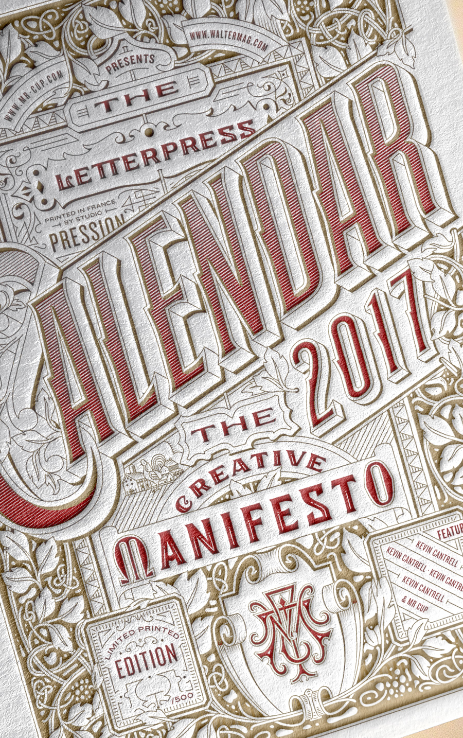 Mr Cup 2017 letterpress calendar design by Kevin Cantrell