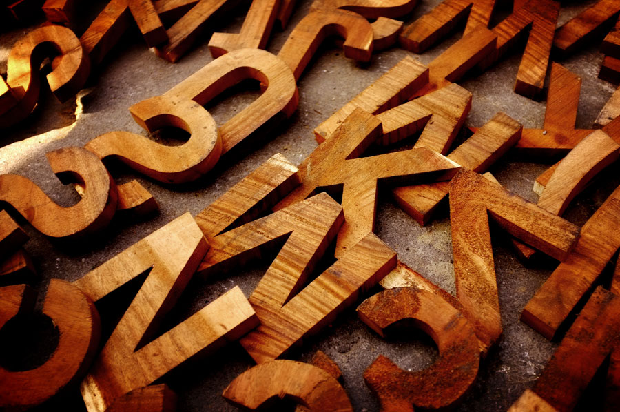 Wood letters Helvetica